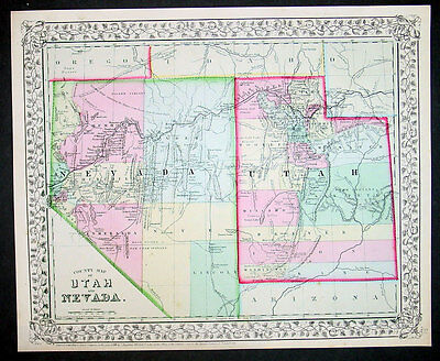 1870 S Augustus Mitchell Antique County Map of Utah and Nevada