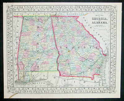 1870 Samuel Augustus Mitchell County Antique Map of Georgia and Alabama