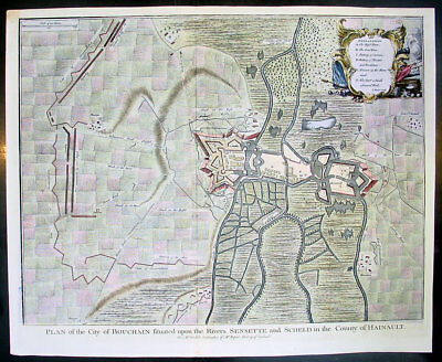 1745 Tindal Antique Map Battle Plan of Siege of Bouchain, Calais, France in 1711