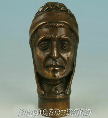 Chinese Old Bronze Hand Carved Dante Alighieri Statues Cane Walking Stick Head