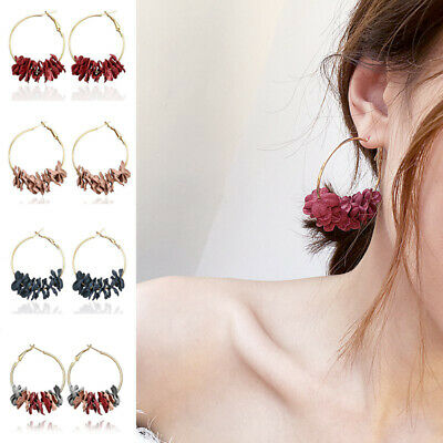 1x Fashion Fabric Flower Large Circle Statement Women Hoop Earrings Jewelry Gift