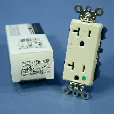 New Leviton Almond Decora HOSPITAL Grade Receptacle Duplex Outlet 20A 16362-HGA
