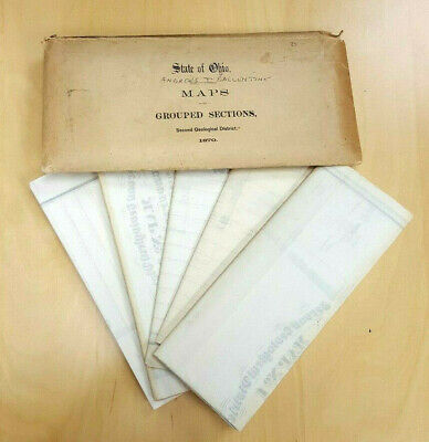 1870 State Ohio Maps 1 -5 Envelope Grouped Sections Second Geological District