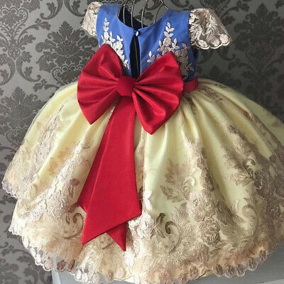 NWT Girl size 4 STUNNING Lace & Ruffled Overlay Fancy RED Bow Blue Gold DRESS 4