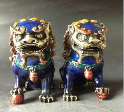 Chinese ancient pair Cloisonne Copper sculpture chinese lion fu foo dog
