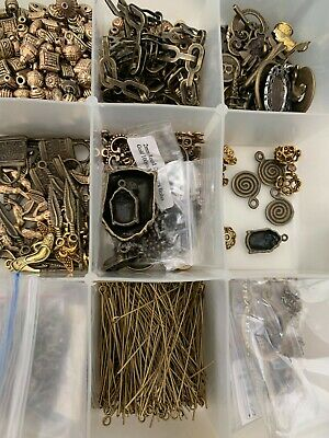 Set of misc bronze jewellery making supplies and beads, jewelry