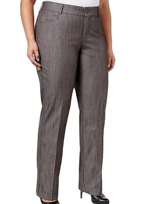 Lee Women's Gray Size 24W Plus Eased Fit Madelyn Dress Pants Stretch $60 #230
