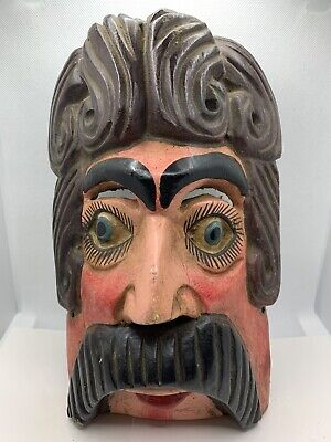 Vintage Handmade Hand Carved  Hand Painted Wooden Mans Head Cool Folk Art Mask