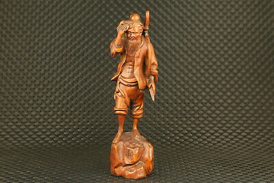 chinese old boxwood hand carved fish man statue figure collectable