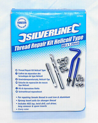 M8 x 1.25mm Silverline Thread Repair Kit Helicoil Type