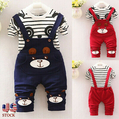 Toddler Kids Baby Boys Girls Panda Print Tops+Pants Overalls Outfit Clothes US