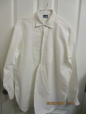 VINTAGE 1920's /1940'S WAFFLE FRONT WHITE COTTON SHIRT 16 COLLAR  A