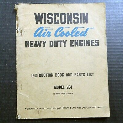 1951 WISCONSIN MOTOR CORP AIR COOLED ENGINES VE4 Owner Manual & Parts List