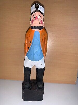Hand Carved Sailor Crew Sea Captain Fisherman Ship Wooden Nautical Figurine