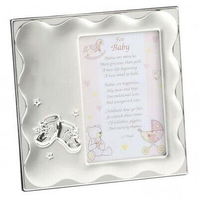 Personalised baby girl Photo frame with bootie design, Any Message Engraved