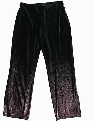 Alfani Women's Black Size 1X Plus Foil Velvet Wide Leg Pants Stretch $89 #318