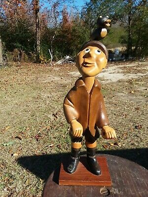Hilarious Vintage Romer Wood Duck Hunter Hand Carved In Italy