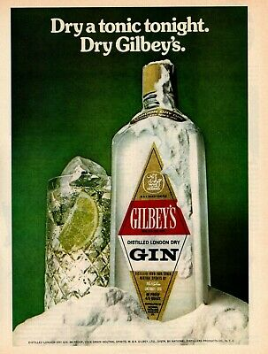 1975 Gilbeys Distilled London Dry Gin Dry A Tonic Tonight. Dry Gilbey's Print Ad