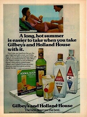 1975 Gilbeys Gin Vodka Holland House Drink Mixes Tom Collins Vodka Sour Print Ad