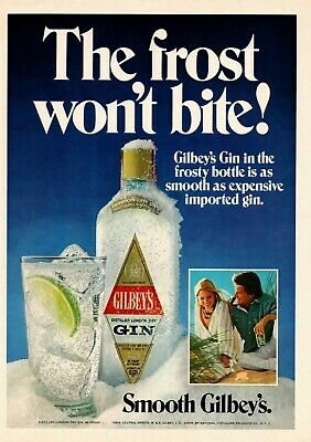 """1976 Gilbey's Distilled London Dry Gin """"The Frost Won't Bite!"""" Frosty Print Ad"""