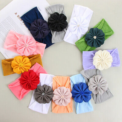 Princess Toddler Turban Girls Flower Hairband Head Wraps Baby Nylon Headbands