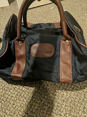 Vintage Pierre Cardin Navy Blue with Brown Trim Mini Duffle Bag A MUST HAVE!!!!!