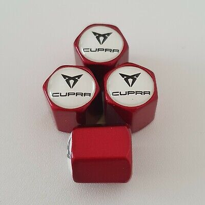 SEAT CUPRA metallic Red Valve Dust caps all models more colours Ask