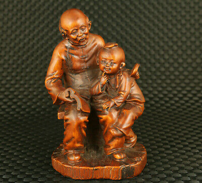 chinese old boxwood elder accompany grandson study statue figure collectable