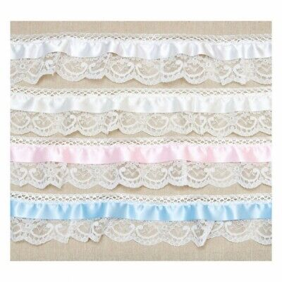 Sold per metre White Satin Frill Lace Trim