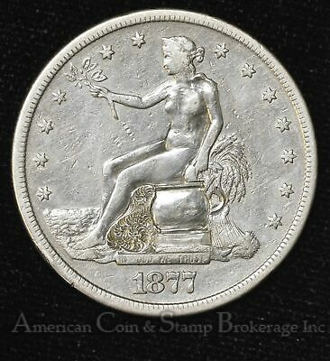 $1 One Dollar 1877 S Trade Potty Dollar Very Well Done Expertly Engraved