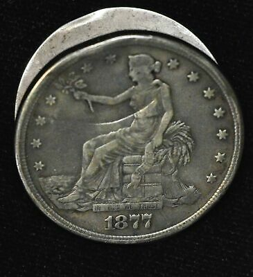 $1 One Dollar 1877 S Trade Box Dollar Girls Picture Well Made Silver
