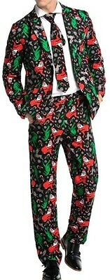 U Look Ugly Today Mens Suit Set Red Size XS 3 Piece Christmas Print $99 #608