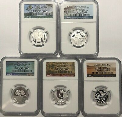 2020 S Proof Silver Quarter Set Ngc Pf69 Early Releases 5 Coin First Atb Parks