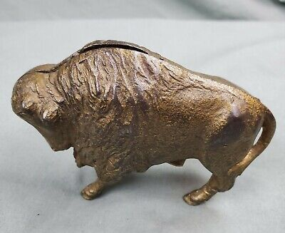 Original Antique AC Williams Cast Iron Buffalo Bison Still Bank Piggy Penny Coin