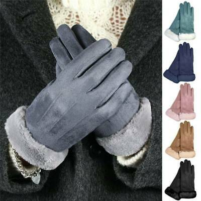 Touch Screen Gloves Women Winters Warm Suede-lined Full Finger Windproof Gloves