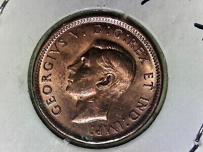 RED 1945 Canada 1 Cent. Very nice looking coin. Includes Free shipping in US.
