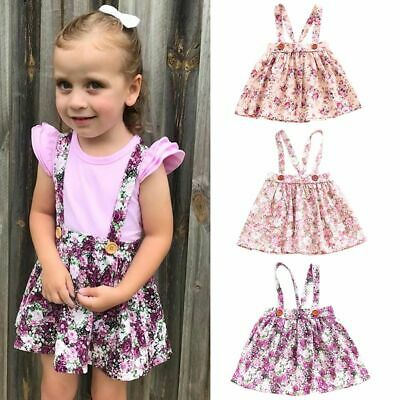 Toddler Kids Outfits Strap Skirt Baby Girls Floral Dress Sleeveless Sundress