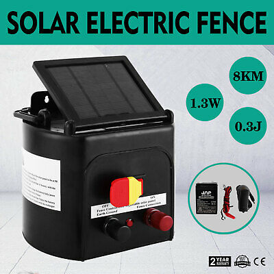 5km Solar Powered Electric Fence Energiser Battery Energizer Charger Tape