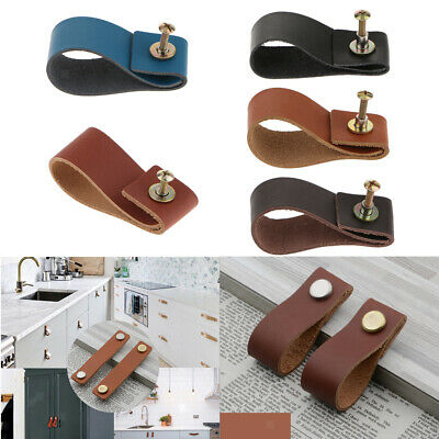 Leather Cupboard Door Pull Chest of Drawer Door Knob with Kits f/ Dresser Drawer