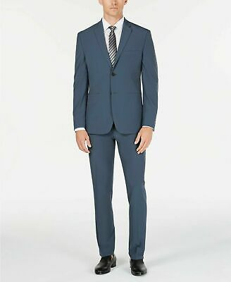 $495 Perry Ellis Slim-Fit Stretch Tech Suit 36S / 30 x 30 Blue Machine Washable