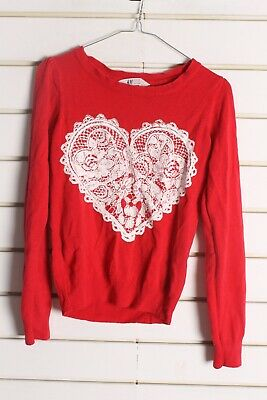 H&M Girls Youths Kids Heart Jumper - Red -Size Age 12-14 Years (cc6)