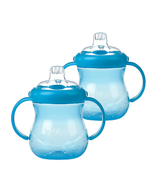 Nuby Baby Bottle Grip N Sip Easy No Spill Silicone Cups / 2 Pack Deal / BPA FREE