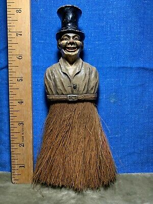 RARE, Folk Art, hand-carved figure of chimney sweep on handle of whisk broom