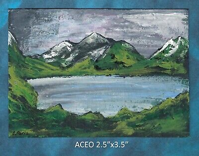 Original ACEO - Lake Abstract landscape - miniature acrylic painting, not framed