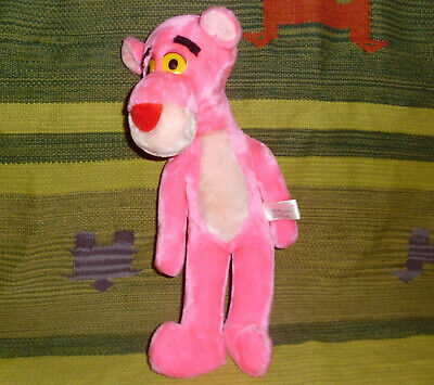 """Pink Panther pink plush toy stuffed animal vintage 1982 Mighty Star 16"""" tall"""