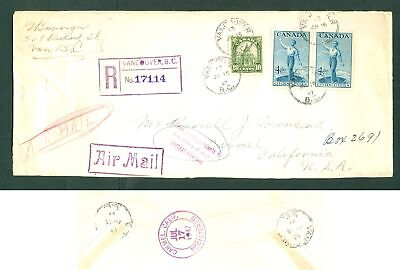 Canada. 1947. Cover  Airmail Reg: Vancouver. #17114. Multi Franking. Adr: USA