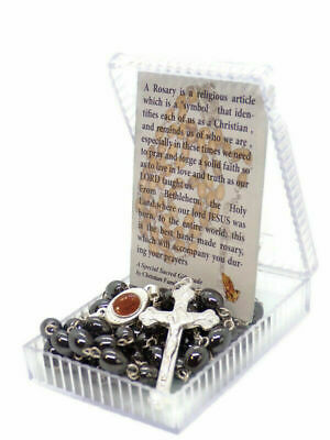Black Jerusalem Rosary Made From Hematite beads in the Holy Land With Holy Soil
