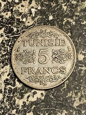Ah 1355 (1936) Tunisia 5 Francs Lot#Q3851 Silver!