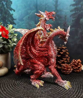 "Red 3 Headed Dragon Hydra Legend Roaring Statue 8""H Dungeons And Dragons Art"