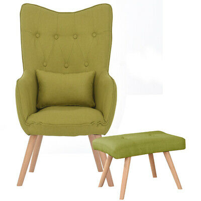 Occasional Wing Back Accent Armchair Living Dining Bedroom Chair Linen Fabric UK